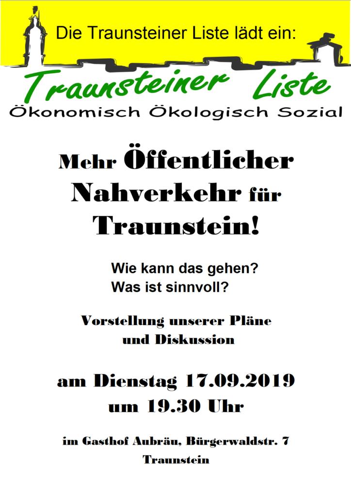 Vortrag: ÖPNV Konzept der Traunsteiner Liste @ Aubräu